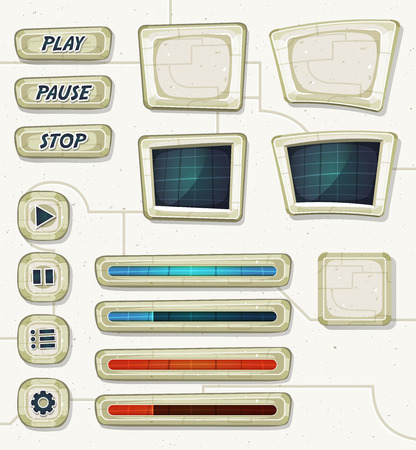 cartoon menu: Illustration of a set of various cartoon design ui game space and scifi elements including banners, signs, buttons, load bar and app icon Illustration