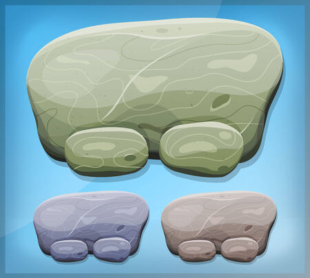 Illustration of a cartoon design summer stone and rock dashboard sign with buttons and interface elements