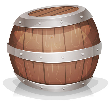 strapping: Illustration of a cartoon wooden wine barrel with iron strapping and nails