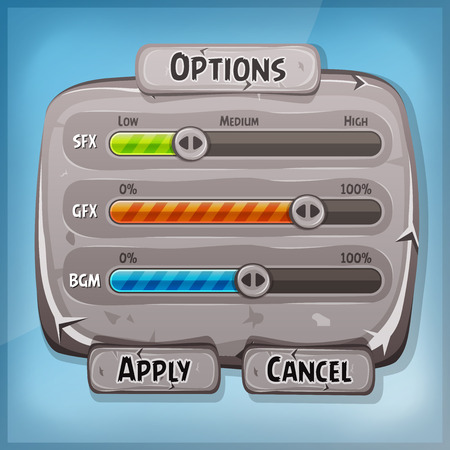 gui: Illustration of a funny cartoon design ui game stone options control panel including status and level bars, for app settings on tablet pc, with spring blue sky  background Illustration