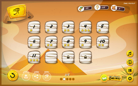 game graphics: Illustration of a funny egyptian desert graphic game user interface background, in cartoon style with buttons, status bar, for wide screen tablet
