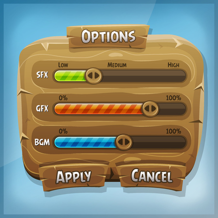 game design: Illustration of a funny cartoon design ui game wooden options control panel including status and level bars Illustration