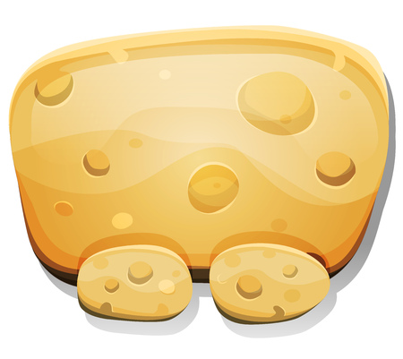 Illustration of a cartoon funny cheese food dashboard sign with buttons, for ui game software or commercial agreement on tablet pc devices