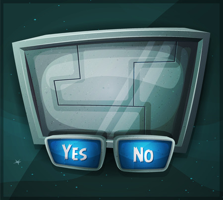 Illustration of a cartoon scifi answer box with buttons 向量圖像
