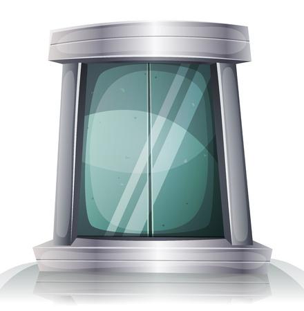 doorframe: Ilustraci�n de un c�mic futurista puerta del ascensor de hierro scifi dibujos animados con el marco de la puerta de metal de plata