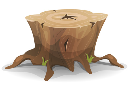 Illustration of a cartoon funny big tree stump with roots and some blades of grass