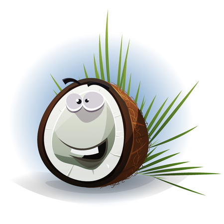Illustration of a funny happy cartoon coconut character with palm leaves