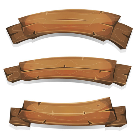 Illustration of a set of cartoon spring or summer wooden award ribbon and banners, for agriculture and farm seal and certificates