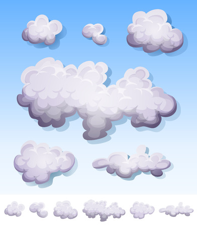 Illustration of a set of cartoon clouds, smoke patterns and fog icons on blue sky and isolated on white background Vector