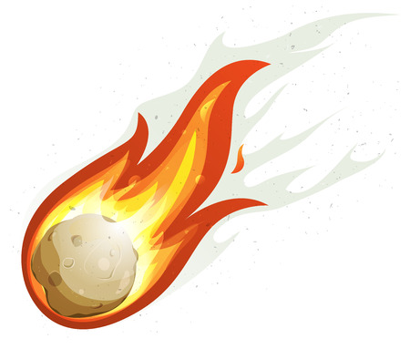 Illustration of a comic comet fire falling with blazing fireball full of flames Vector