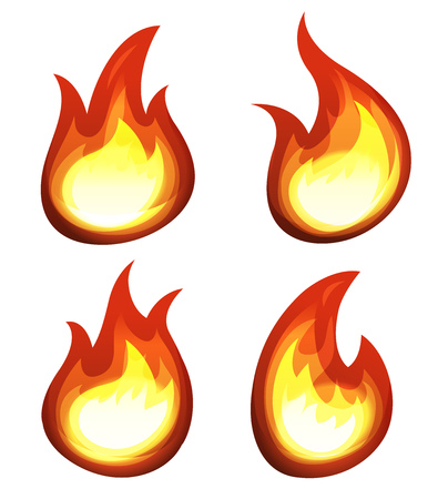 Illustration of a set of cartoon fire elements and flames shapes burning Иллюстрация