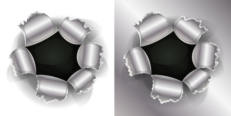 punched: Illustration of a shotgun bullet impact hole, slash, working as well on white and metal background