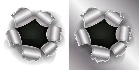 gunshot: Illustration of a shotgun bullet impact hole, slash, working as well on white and metal background