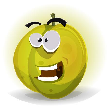 marmalade: Illustrazione di un cartone animato divertente sano e succoso carattere prugna frutta, per l'estate e l'autunno marmellata e confettura Vettoriali