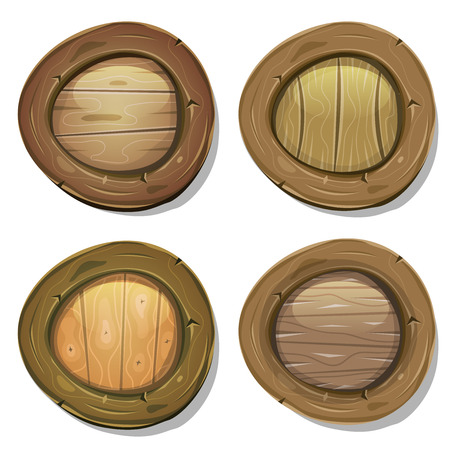 Illustration of a set of cartoon design viking warrior shields, with various wood frames, patterns and textures Vector