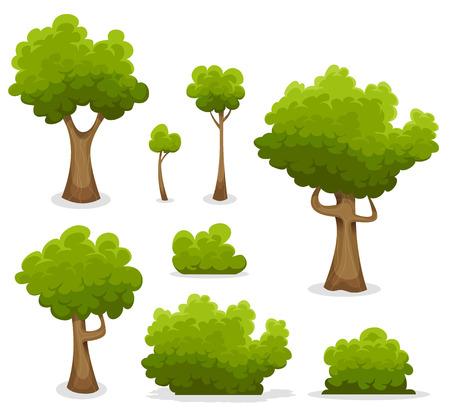 tronco: Ilustraci�n de un conjunto de dibujos animados de primavera o verano �rboles forestales y otros elementos del bosque verde, follaje, arbustos, setos Vectores
