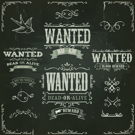 wanted: Illustration of a set of hand drawn vintage old wanted, dead or alive, reward western movie placard banners, with sketched floral patterns, on slate chalkboard background Illustration