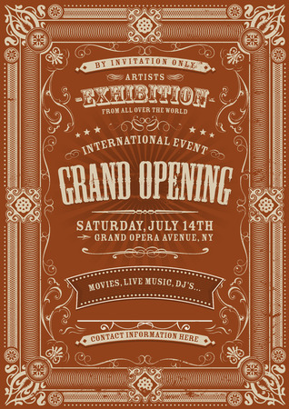 Illustration of a vintage invitation background to a grand opening exhibition with various floral patterns, frames, banners, grunge texture and retro design Vector
