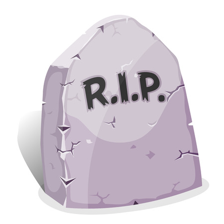 Illustration of a funny cartoon halloween tombstone for graveyard landscape with rest in peace inscription Vector
