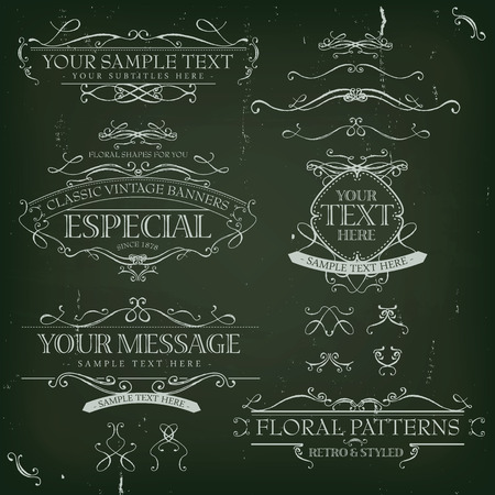 sketched: Illustration of a set of retro labels, frames, sketched banners, floral patterns, ribbons, and graphic design elements on slate chalkboard background Illustration