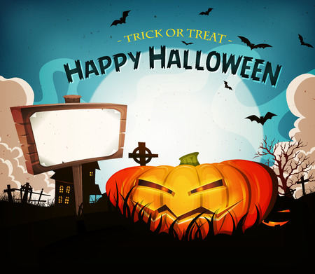 Illustration of a cartoon funny halloween holidays spooky horror landscape, with wicked pumpkin and blank wood sign Vector