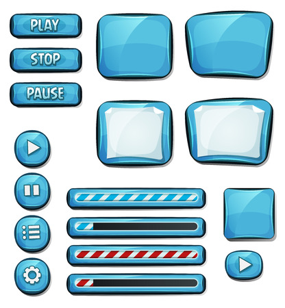 Illustration of a set of various cartoon design ui diamonds or gems glossy elements including banners, signs, buttons, load bar and app icon background for tablet pc