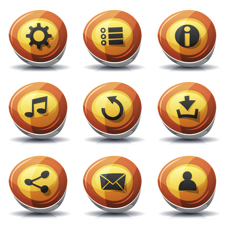 Illustration of a set of cartoon comic warning road signs ui game icons and buttons elements, with main user interface app functions Illustration