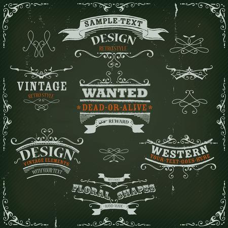 rayures vintage: Illustration d'un ensemble de tir� par la main de l'Ouest banni�res comme esquiss�s, des motifs floraux, des rubans, et loin des �l�ments de conception sur l'ouest mill�sime fond ray�