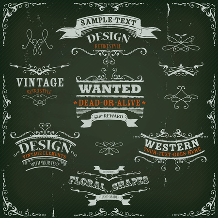 collections: Illustration of a set of hand drawn western like sketched banners, floral patterns, ribbons, and far west design elements on vintage striped background