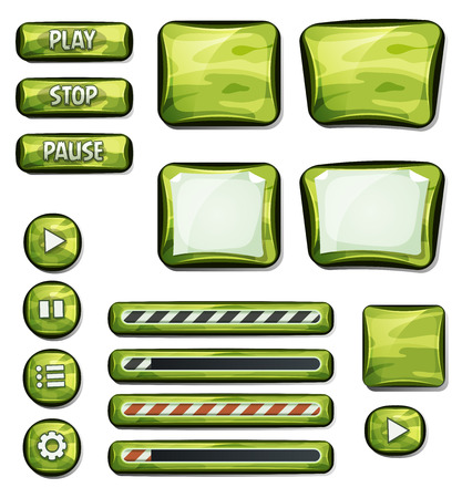 interface menu tool: Illustration of a set of various cartoon design ui military and camo glossy elements including banners, signs, buttons, load bar and app icon background for tablet pc