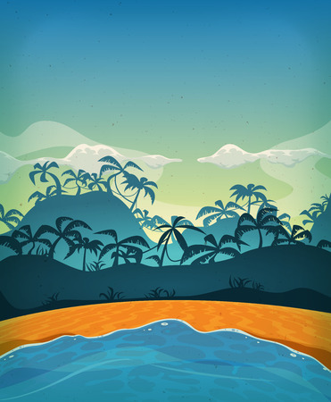 Illustration of a cartoon summer tropical beach ocean background with palm trees, coconuts, and cloudscape upon blue morning sky