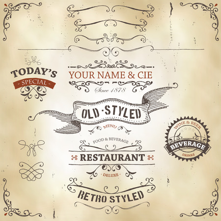 Illustration of a set of hand drawn sketched banners, ribbons for food, restaurant and beverage design elements on western leather background Vector