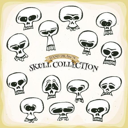 wicked set: Illustration of a set of cartoon funny skull heads set