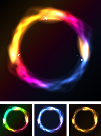 Illustration of a set of abstract blurred rings with neon light circles on black background Vector