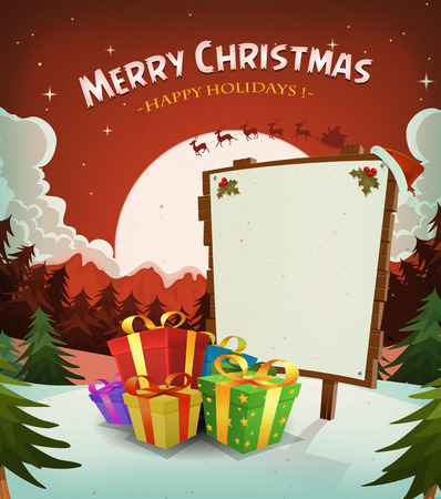 Illustration of a cartoon red christmas holidays background, with gifts, wood sign and santa character driving sleigh in the moon light Vector