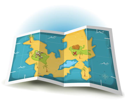 isla del tesoro: Ilustración de una isla del tesoro de dibujos animados y mapa icono