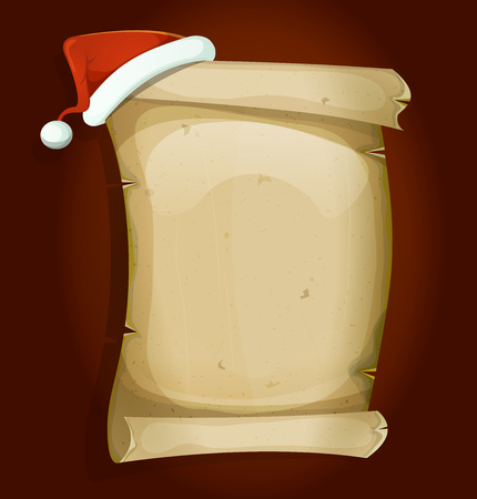 pompon: Illustration of a cartoon red santa claus hat settled on old parchment scroll sign for gifts list and merry christmas holidays celebration