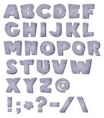 write abc: Illustration of a set of comic ABC letters and font characters also containing punctuation symbols