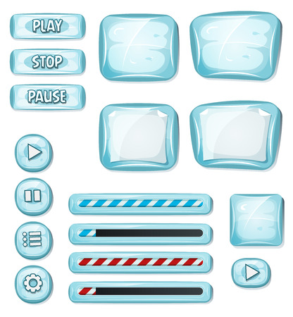 blue button: Illustration of a set of various cartoon design ui ice glossy elements including banners, signs, buttons, load bar and app icon background for tablet pc Illustration