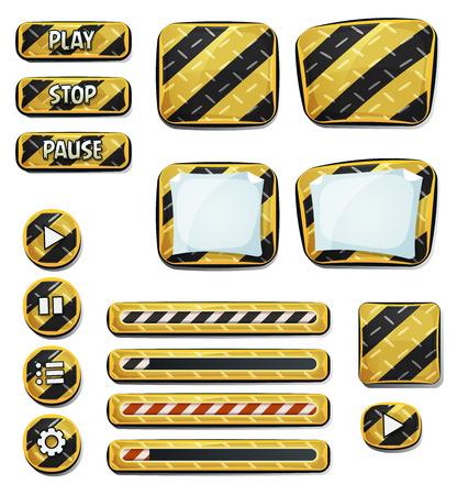 Illustration aus einer Reihe von verschiedenen Cartoon-Design ui Not- und Sicherheitselemente einschließlich Banner, Schilder, Knöpfe, Traverse und App-Symbol Hintergrund für Tablette-PC