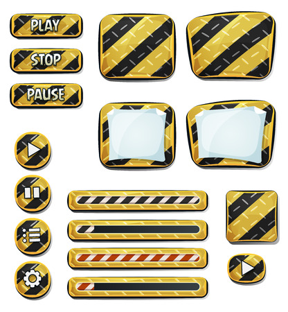 game design: Illustration of a set of various cartoon design ui emergency and security elements including banners, signs, buttons, load bar and app icon background for tablet pc