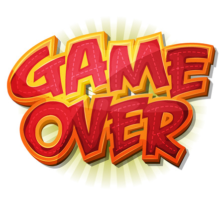 Illustration of a cartoon design game over icon for game user interface 向量圖像