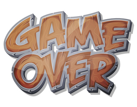 Illustration of a cartoon wood design game over icon for game user interface