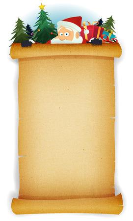 Illustration d'un Happy Santa Claus caractère de bande dessinée se cachant derrière vieille enseigne parchemin millésime pour les vacances et les enfants merry christmas liste de cadeaux Banque d'images - 34006705