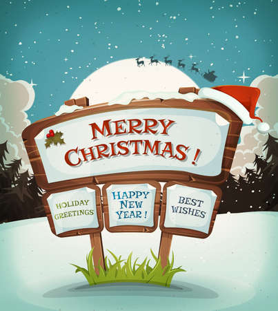 santa claus hats: Illustration of a cartoon christmas holidays background on wood sign and santa character driving sleigh in the moon light Illustration