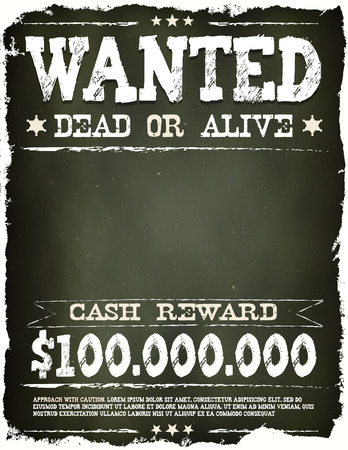 Illustration of a vintage old wanted placard poster template, with dead or alive inscription, cash reward on chalkboard background Ilustração