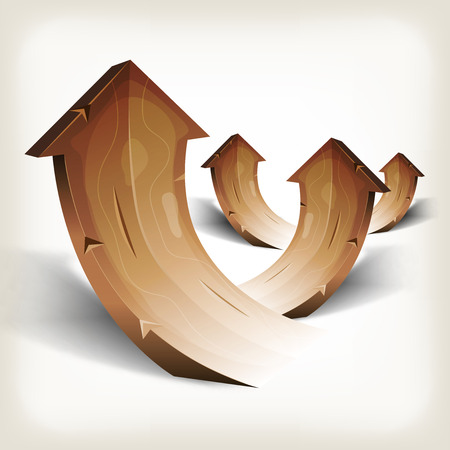 sharp curve: Illustration of an arrangement of abstract vintage rising cartoon wood arrows, symbolizing growth, wealth and success
