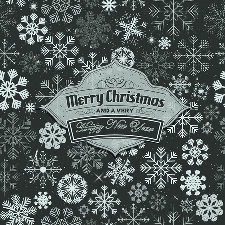 happy new years: Illustration of a merry christmas banner on seamless background with white winter snowflakes for santa claus and happy new years eve holidays