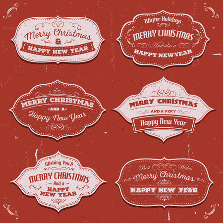 happy new years: Illustration of a vintage set of merry christmas banners, badges, frames for happy new years eve holidays