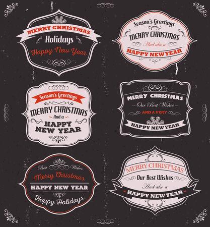 fin de a�o: Ilustraci�n de un conjunto de �poca de color rojo, negro y gris feliz navidad pancartas, insignias, cintas y marcos para vacaciones v�spera feliz de a�o nuevo en el fondo pizarra